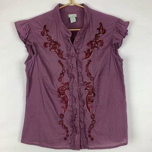 Odille short sleeve button down beaded top, 6